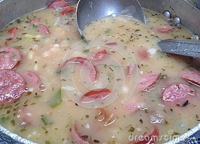White beans cooked with sliced sausage