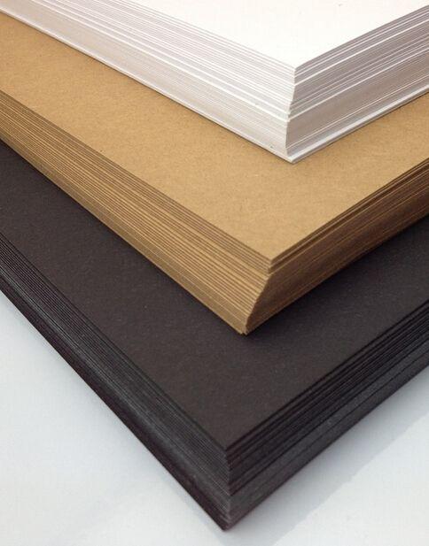 10 Feuilles A4 KRAFT BRUN Blanc 250gsm Recyclé Carton Épais Carton Noir Papier Ordinaire 29.7 cm X 21 cm DIY