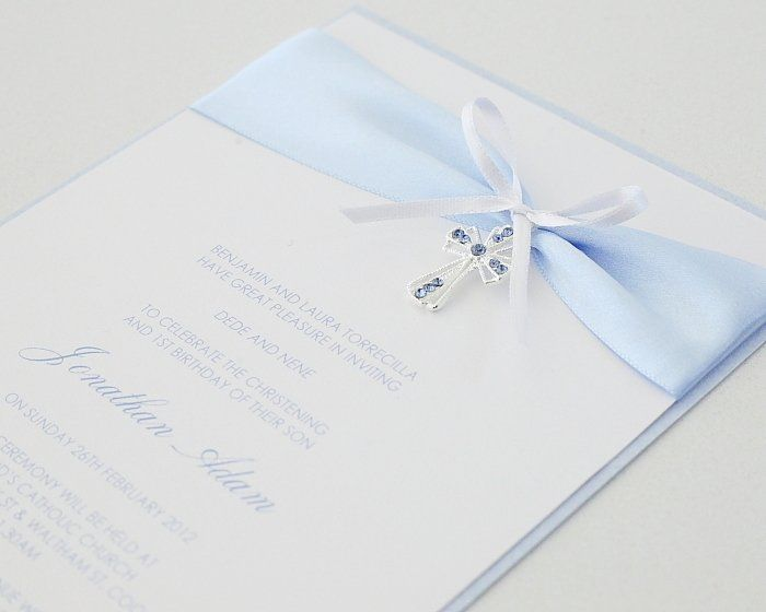 Blue Diamante Cross Christening Invitation