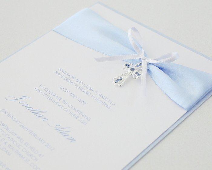 Blue Diamante Cross Christening Invitation