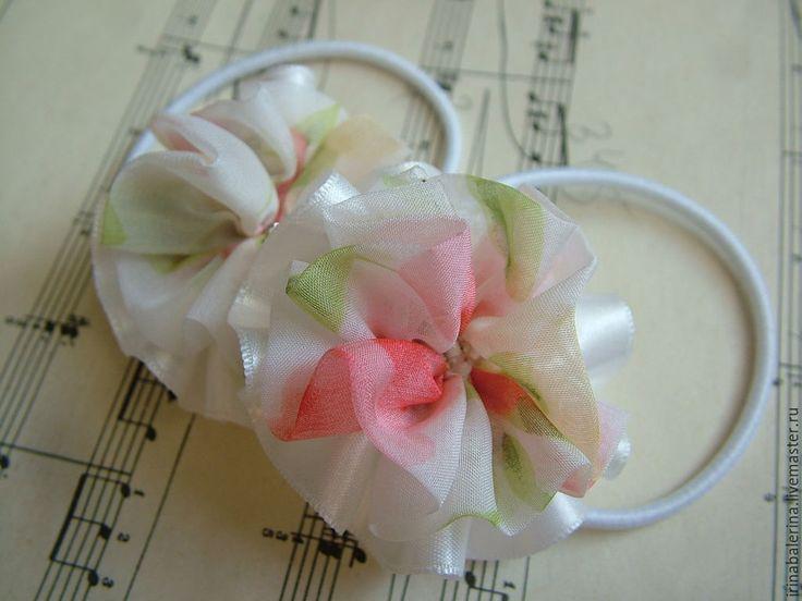 Купить Бантики для волос После бала - бело-розовый, резинки для волос, резинка с…