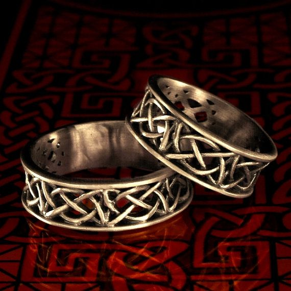 Celtic Wedding Ring Set With Open Cut-Through Knotwork Design in Sterling Silver, Made in Your Size.