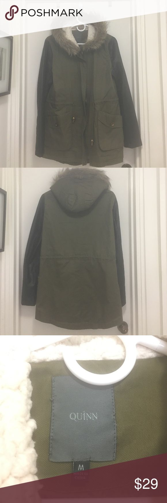 Women's mixed media jacket with fur hood. Size M Women's army green utility jacket with black fo-leather sleeves. Mixed media with fur trim hood. In barely worn condition like new. Originally from the store Francesca's Francesca's Collections Jackets & Coats Utility Jackets