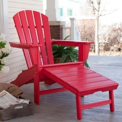 Adirondack Chair: Polywood Recycled Plastic Big Daddy Adirondack Chair with Pull-out Ottoman