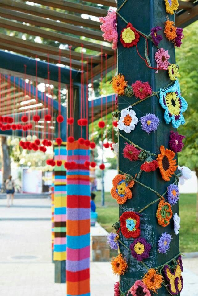Yarn Bombing ideas - photo taken in Greece, beautiful!