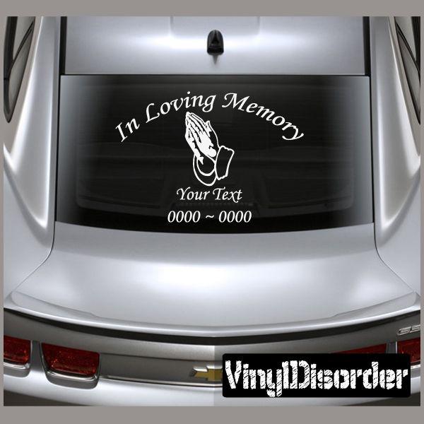 Praying hands 2 in loving memory custom car or wall vinyl decal stickers
