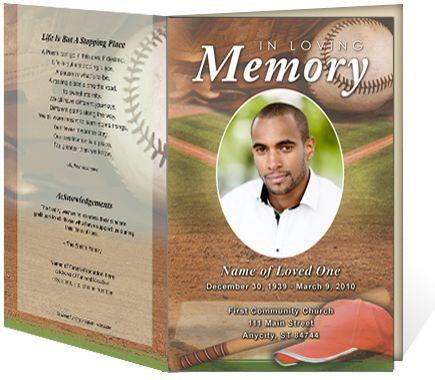 Sports theme Funeral Programs: Baseball Single Fold Bulletins Templates