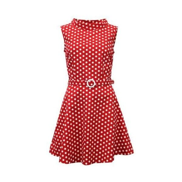 MADCAP ENGLAND Retro 1960s Mod Polkadot MIni Belt Dress in Red ❤ liked on Polyvore featuring dresses, red polka dot dress, short dresses, red skater skirt, red mini dress and mini dress