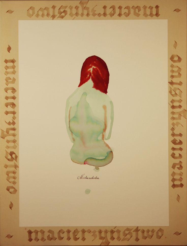 Maciej Olekszy, Macierzyństwo,  atrament, tusz, papier naklejony na płótno, 125 x 95cm, 2013y