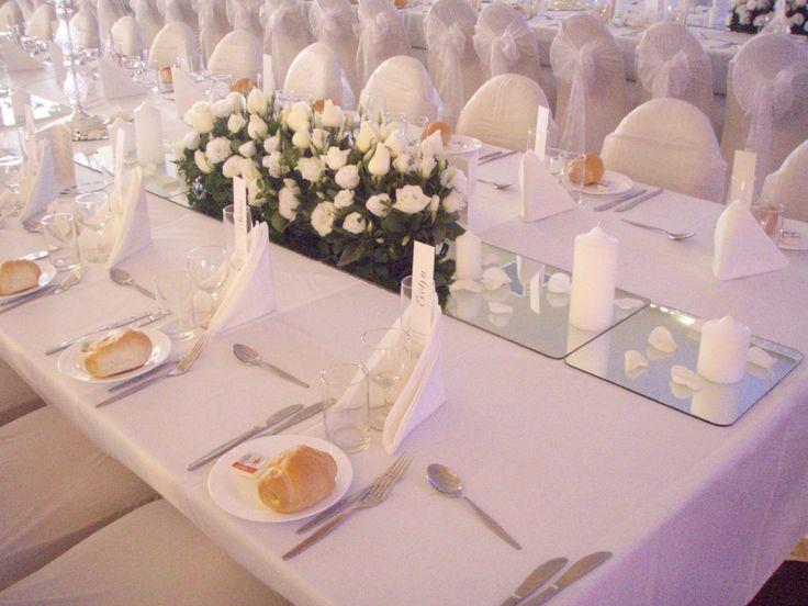 Classic all white rose wedding centrepiece www.houseofthebride.com.au