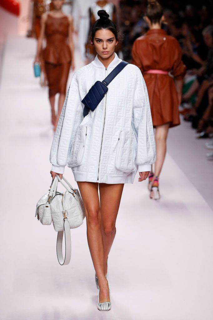 fa4032d0f254 Model Kendall Jenner walks the runway at the Fendi show during Milan  Fashion Week Spring Summer 2019 on September 20