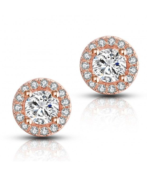 c6d860e24 Earrings, Stud,Halo CZ Stud Earrings Brilliant Rose gold color CF1850IAX99 # Earrings #