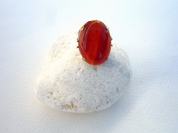Carnelian gemstone ,Sterling Silver ring.