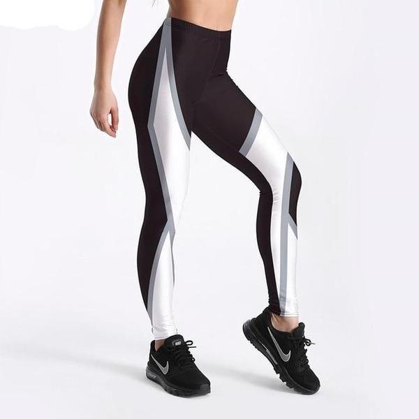 Damen Netz Bedruckte Leggings Elastisch Schmal Schwarz Weiß Hose Sport Training