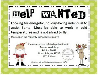 Santa's Helper Application with actual address to mail the applications to!  Will do this next year!