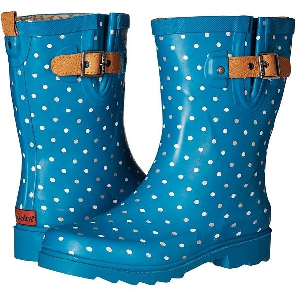 Chooka Classic Dot Mid Rain Boot (Dark Teal) Women's Rain Boots ($46) ❤ liked on Polyvore featuring shoes, boots, blue, slip on leather boots, blue leather boots, wellington boots, slip on rubber boots and wellies boots