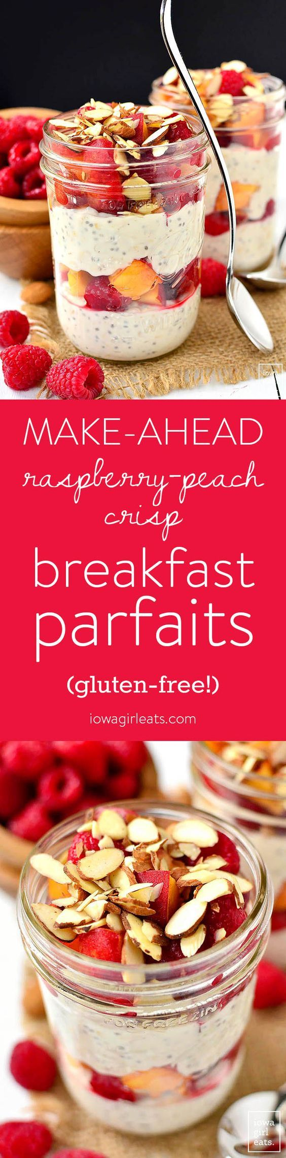 Make-Ahead Raspberry-Peach Crisp Breakfast Parfaits are gluten-free, fresh and filling. Assemble at night then grab and go in the morning. | iowagirleats.com