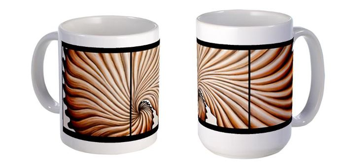 """Latte´"" a triptych Oil on canvas 12"" x 36"" The design applied to mugs: http://www.cafepress.com/zoolnzart/8840558"