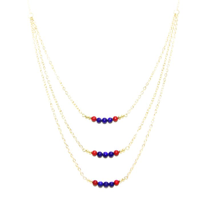 ValentinaNecklace - LapisLazuli & Coral -  The ultimate statement piece in our debut collection, our Valentina necklace is your instant route to sure-fire sophistication and glamour. Add to an open neckline or cocktail dress, shimmer through your evening and bask in its alluring power.  Made using our sparkling 14 carat gold-plated fine chain and accentuated with lapis-lazuli and coral elements. Finished with a lobster clasp fastening, an extension chain and a HOLLYGALORE charm. £54.99