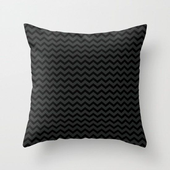 Black And Gray Small Chevrons Throw Pillow Cover Includes
