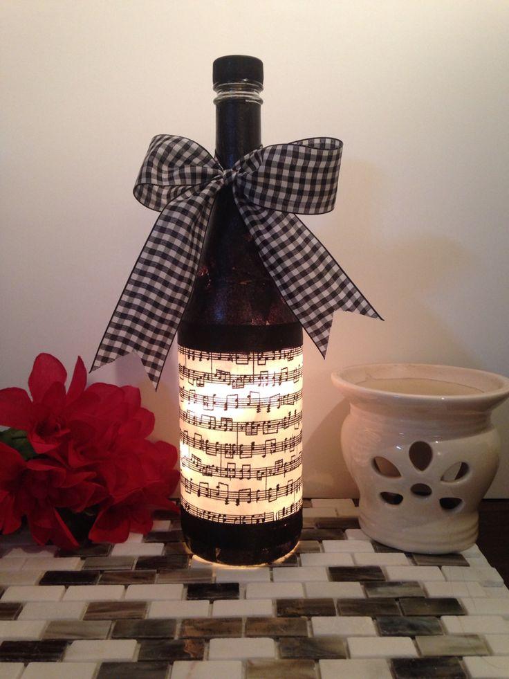 Music Notes wine bottle lamp, bottle lamp, night light, music decor, music art…