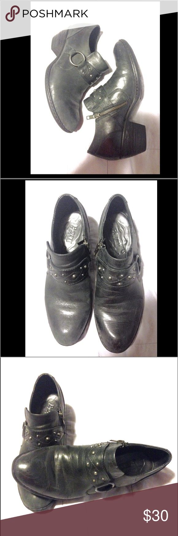 B.O.C. Born Black Zip Up Booties Size 7 B.O.C. BORN Women's Black Zip Up Booties, Size (7), Excellent Used Condition! If polished, they would be good as NEW! Thanks! Born Shoes Ankle Boots & Booties