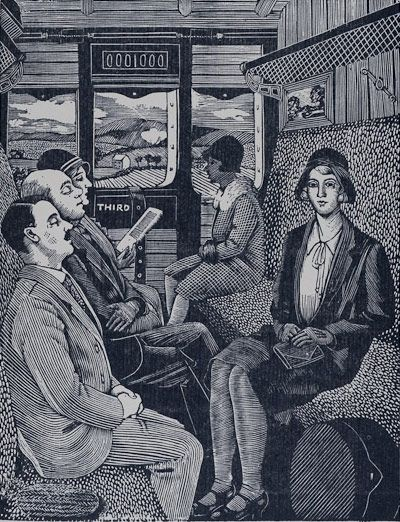 """From the Persephone Post: """"Tirzah Garwood was of course married to Eric Ravilious and has become overshadowed by his enormous fame. But she was a fabulous and extraordinary wood engraver, and painter, in her own right. Here is a wood engraving that we have never seen before, The Train Journey 1929-30."""