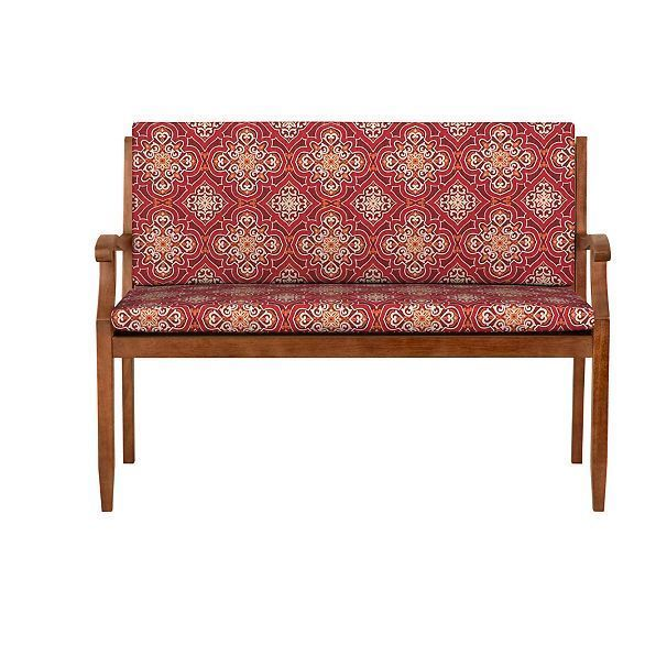 Patio Furniture Cushions And Pads 79683 47 Outdoor Bench Cushion Seat Back W Hinge Medallion Red Decor Comfort Pad B Bench Cushions Red Decor Seat Cushions