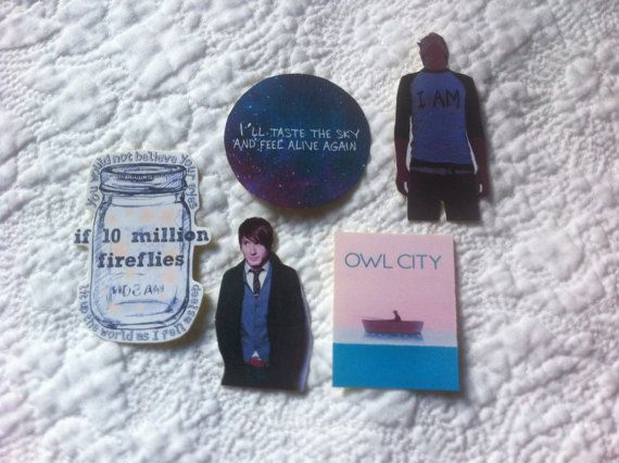 Owl City Adam Young fan sticker set of 5 on MissMarcieOnline