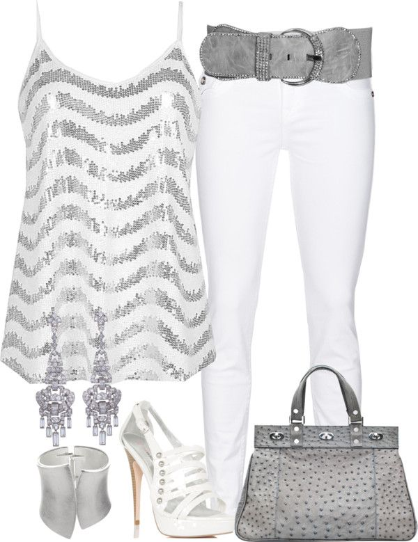 """White and Silver"" by stephiebees on Polyvore- perfect for New Year Parties!  Or pair with dark jeans!"