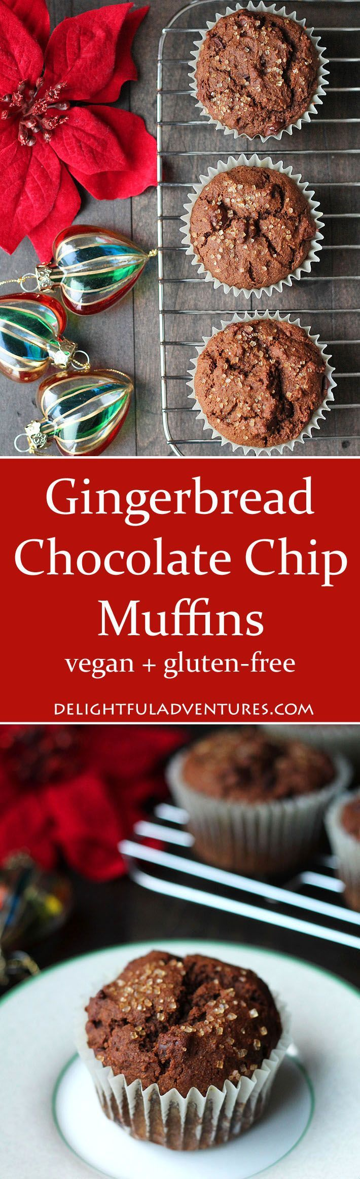 Spicy, sweet, and perfect for the holiday season, these vegan gluten free gingerbread muffins are great for serving to family and friends. via @delighfuladv #vegan #veganglutenfree #gingerbread #vegangingerbread #veganmuffins
