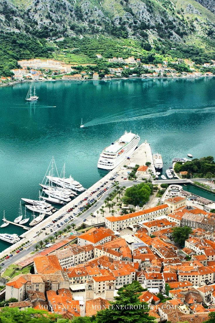 Kotor old town from San Giovanni Fortress in Montenegro's Bay of Kotor. Hike up the fortress to get this amazing view!