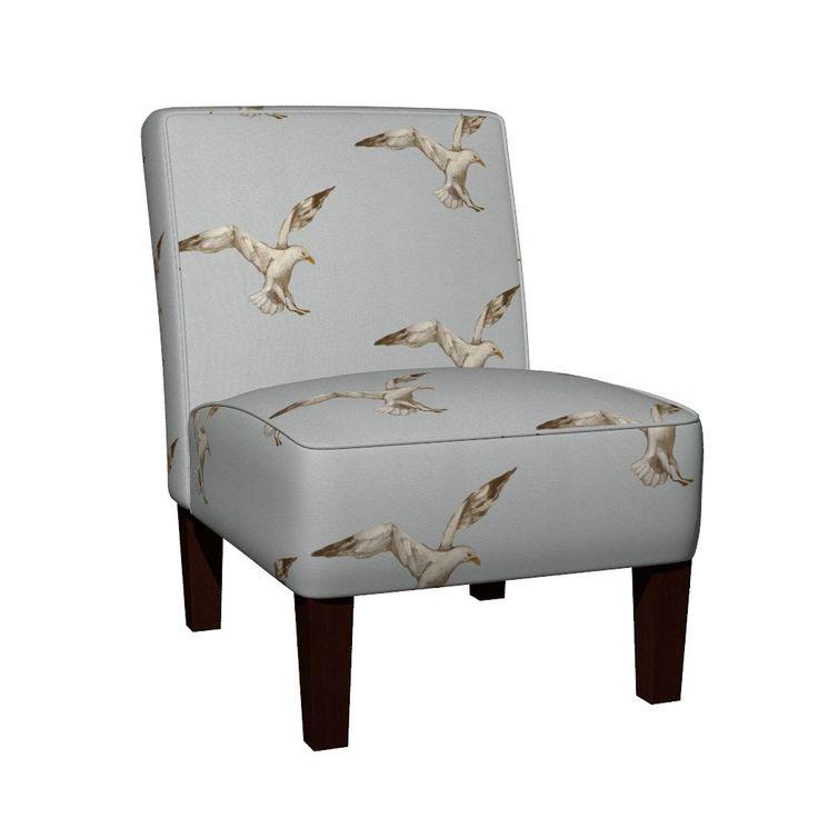 Maran Slipper Chair featuring Single_Seagull by traceyharveydesigns | Roostery Home Decor  - Beach Shack - Coastal Home Decor