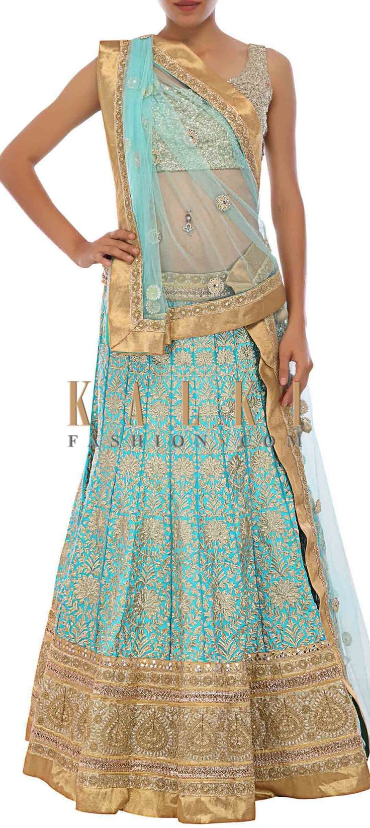 Buy Online from the link below. We ship worldwide (Free Shipping over US$100) http://www.kalkifashion.com/sky-blue-silk-lehenga-embellished-in-zari-embroidery-only-on-kalki.html