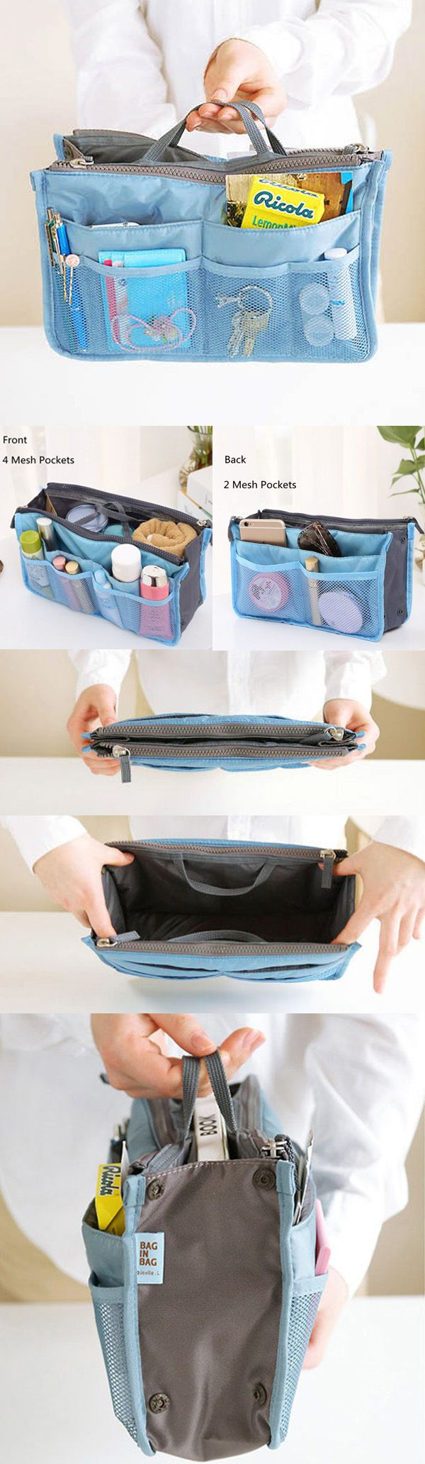 US$5.00 Women Travel Insert Handbag,Nylon Large Tidy Bag, Cosmetic Bag For Travel