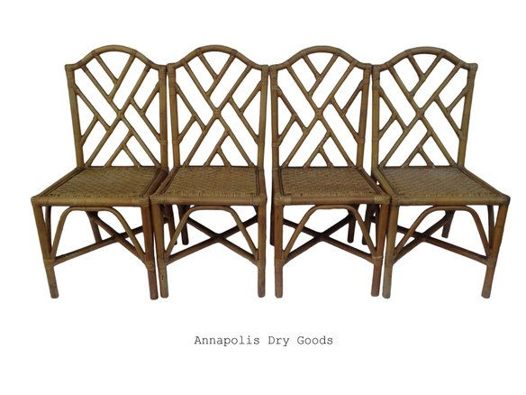SOLD 4 Chinese Chippendale Rattan Fretwork Chairs in Annapolis, MD, USA ~ Krrb