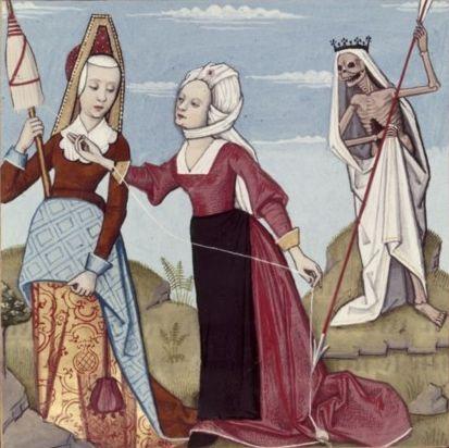 Robinet Testart - Les 3 Parques - Enluminure pour le Livres des échecs amoureux d'Evrard de Conty. -  c 1496-1498