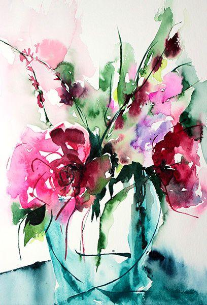 Etincelle - Peinture,  24x30 cm ©2013 par Véronique Piaser-Moyen -            aquarelle, fleurs, fleur, bouquet, bouquets, peinture, art contemporain, art, contemporaine
