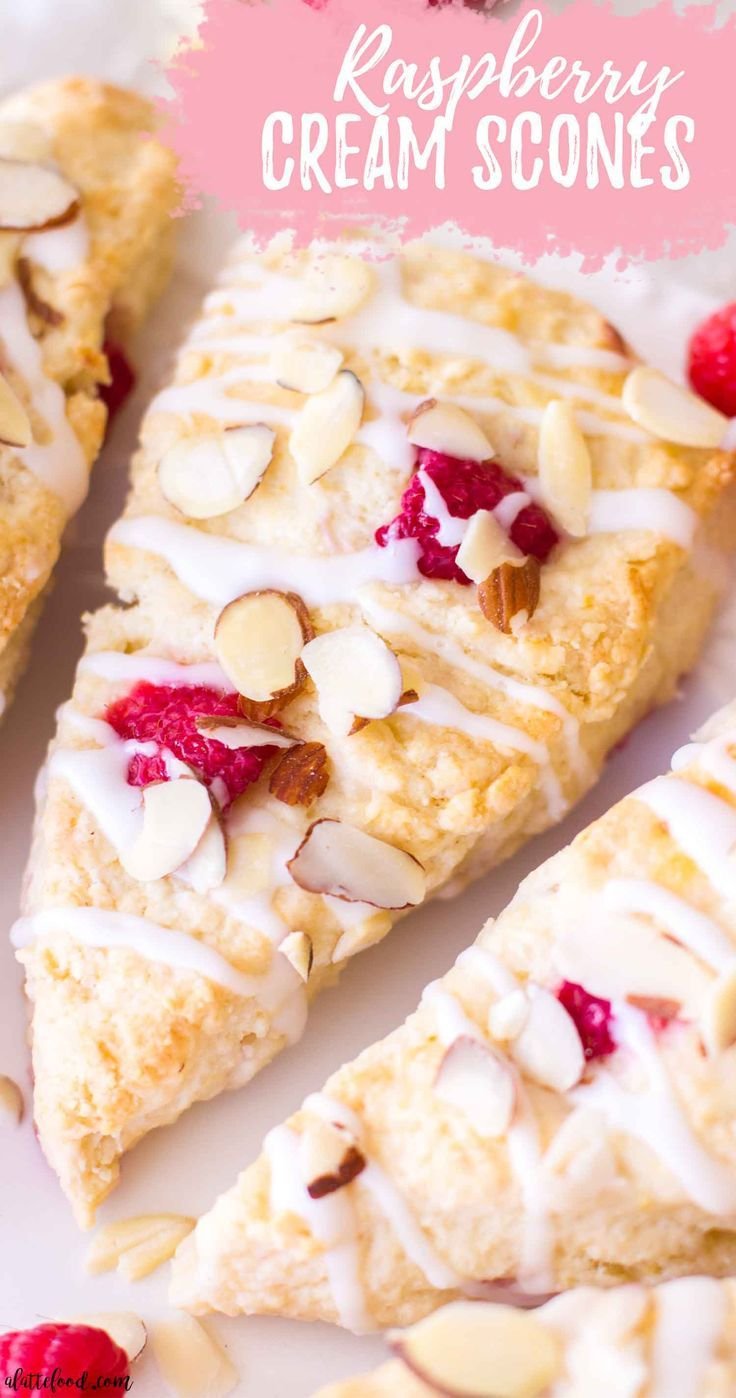 Raspberry Almond Cream Scones In 2020 Scones Recipe Easy Homemade Scones Scone Recipe