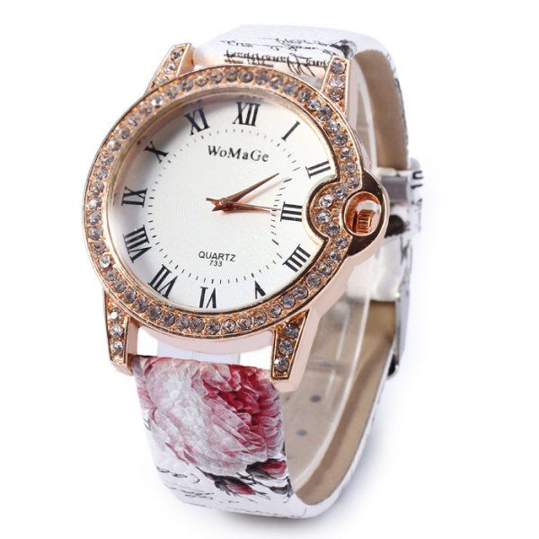 Womage 733 Female Diamond Quartz Watch with Printed Leather Band #>=#>=#>=#>=#> Click on the pin to check out discount price, color, size, shipping, etc. Save and like it!