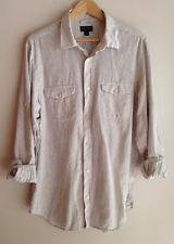 Banana Republic Mens Linen Cotton Light Grey Stripe Shirt XL | eBay