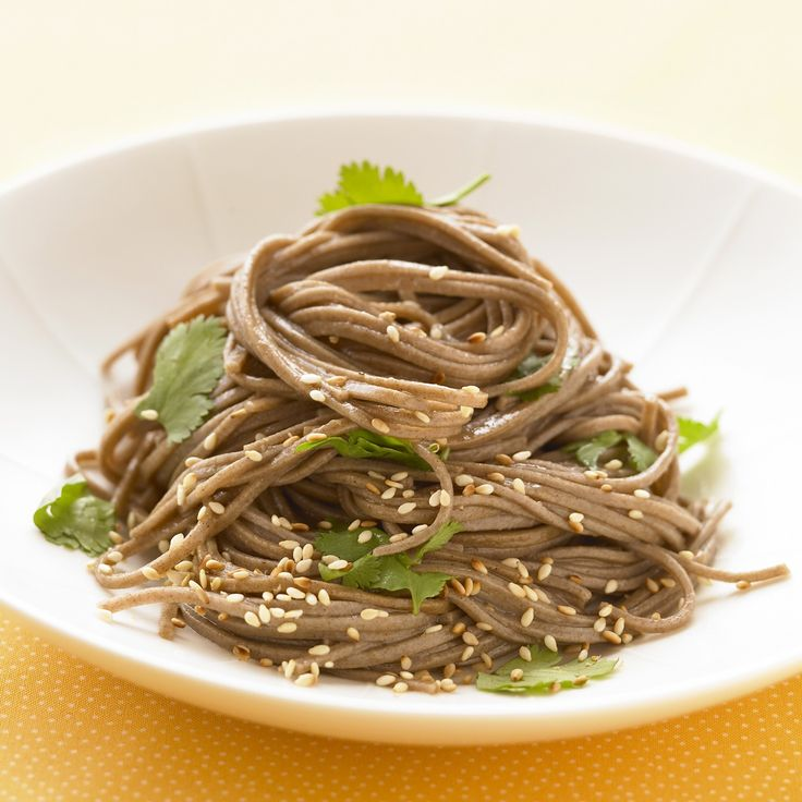 Japanese soba noodles are lower in calories than regular pasta, with almost as much protein; their assertive flavor is matched here with rice…