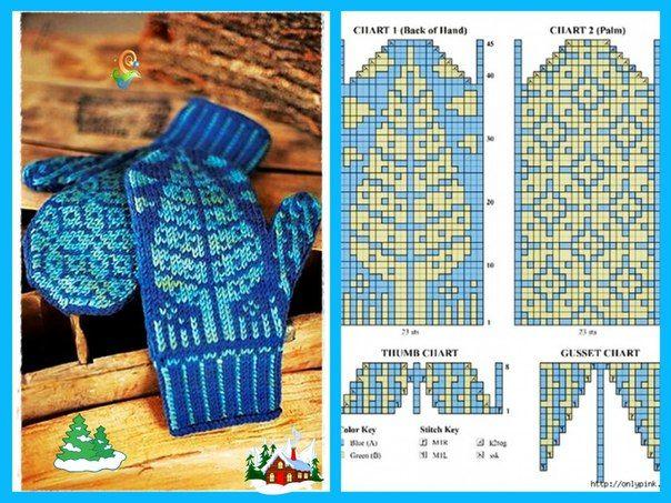 "Вязание. Варежки с жаккардом - ""Зимняя радуга"" - votter mønster - colourwork mittens chart"