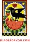 Watermelon & Crow Garden Flag - 2 left