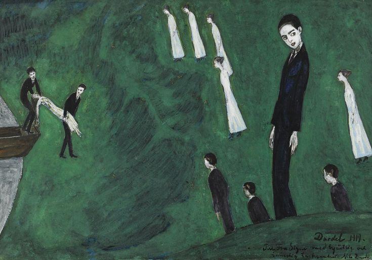Nils Dardel (Swedish, 1888-1943), Den drunknade flickan I [The drowned girl I], 1919. Gouache on paper, 36 x 50 cm.