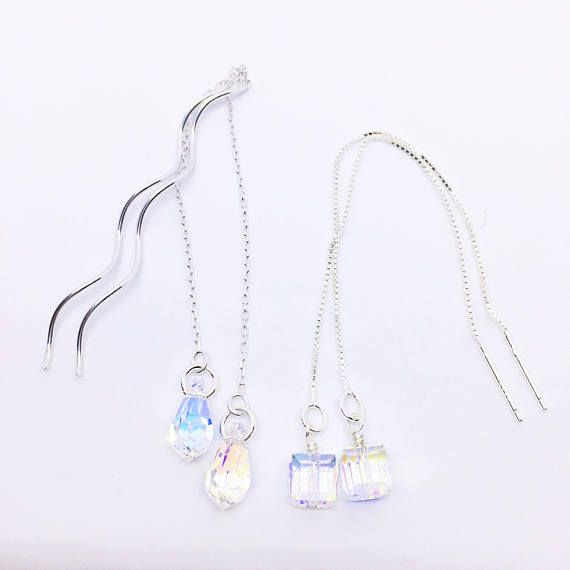 Swarovski Crystal Earrings Crystal Ear Threads Sterling