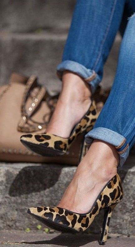 Leopard Print Hair Calf Pumps                                                                             Source