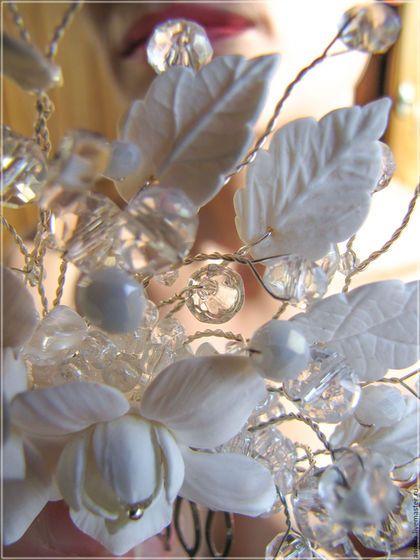 """Свадебные украшения ручной работы. Заказать Свадебный гребень """"Капли молока"""". Анжела Ченина. Ярмарка Мастеров. Гребень белые лилии"""