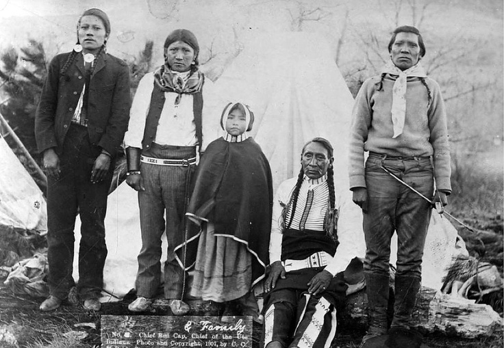 Ute Indian Red Cap, seated, was a member of the White River Band of Utes. He was one of the men who led the Utes from Utah to South Dakota in 1906. This photograph was taken in 1907, when he was one of the most important Ute leaders. Courtesy Utah Historical Society