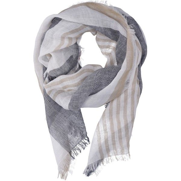 Altea Beige White and Blue Stripe Scarf (120 CHF) ❤ liked on Polyvore featuring accessories, scarves, multicolour, colorful scarves, linen shawl, striped shawl, linen scarves and striped scarves